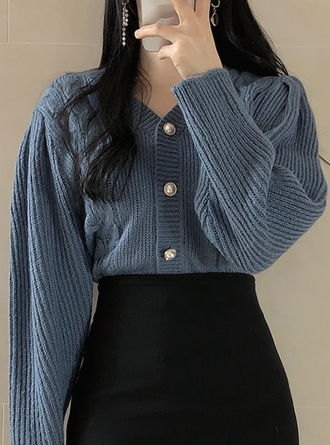 퍼프 꽈배기 진주가디건(4color)