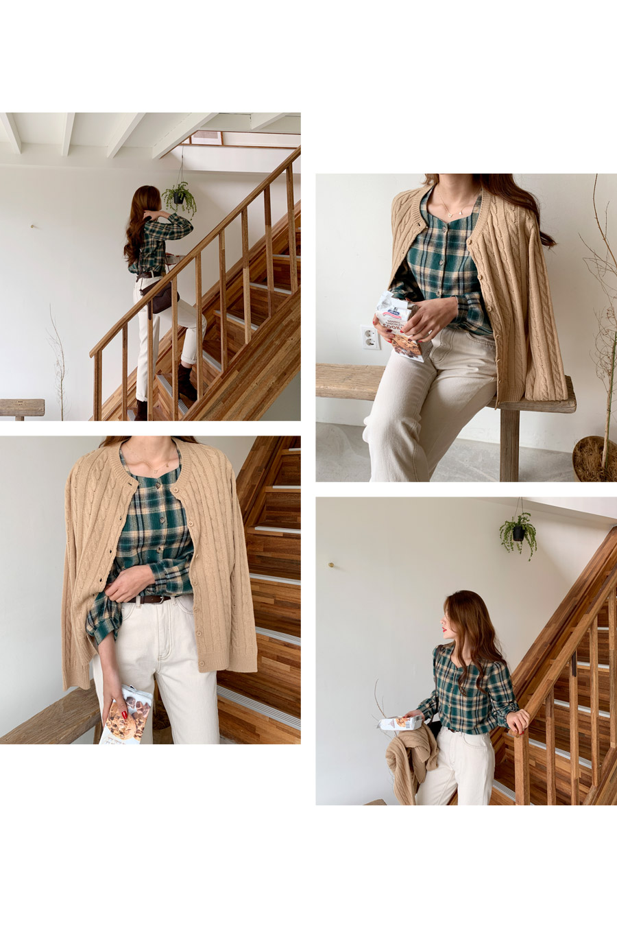 Yomi square check blouse