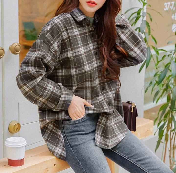 CARA WOOL CHECK LOOSE FIT SHIRTS