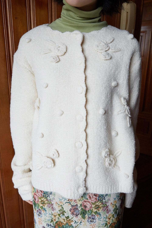 rose bulky cardigan (ivory)