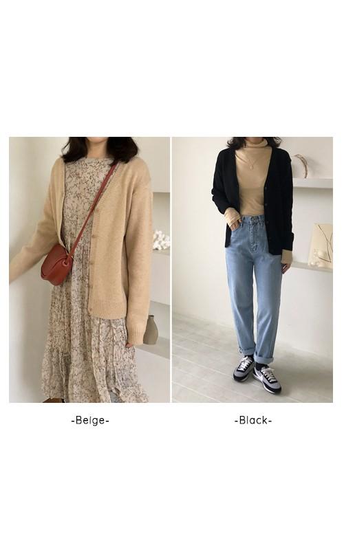 Basic wool color cardigan