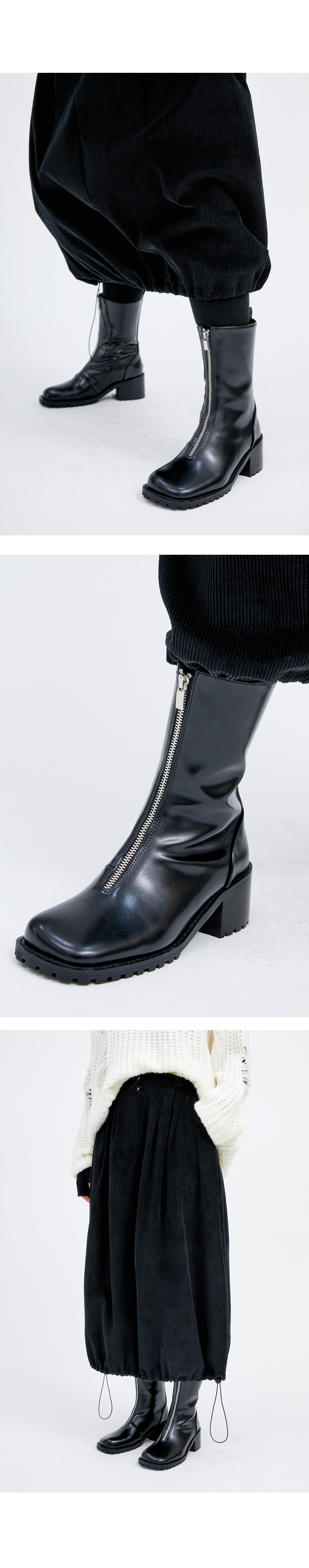 square leather zipper ankle boots