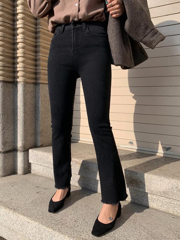 Old Black Jeans Long Boots Cut Pants 長褲