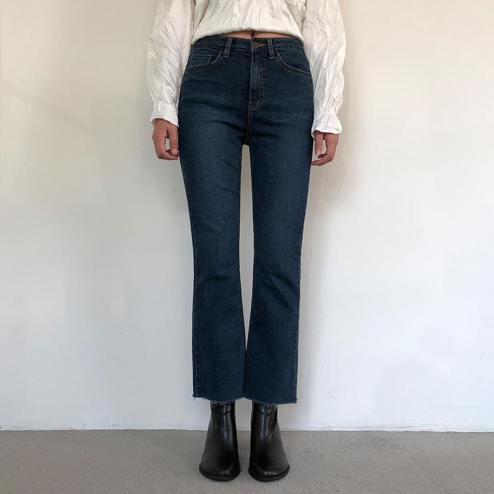 Semi-boots brushed deep blue jeans jeans