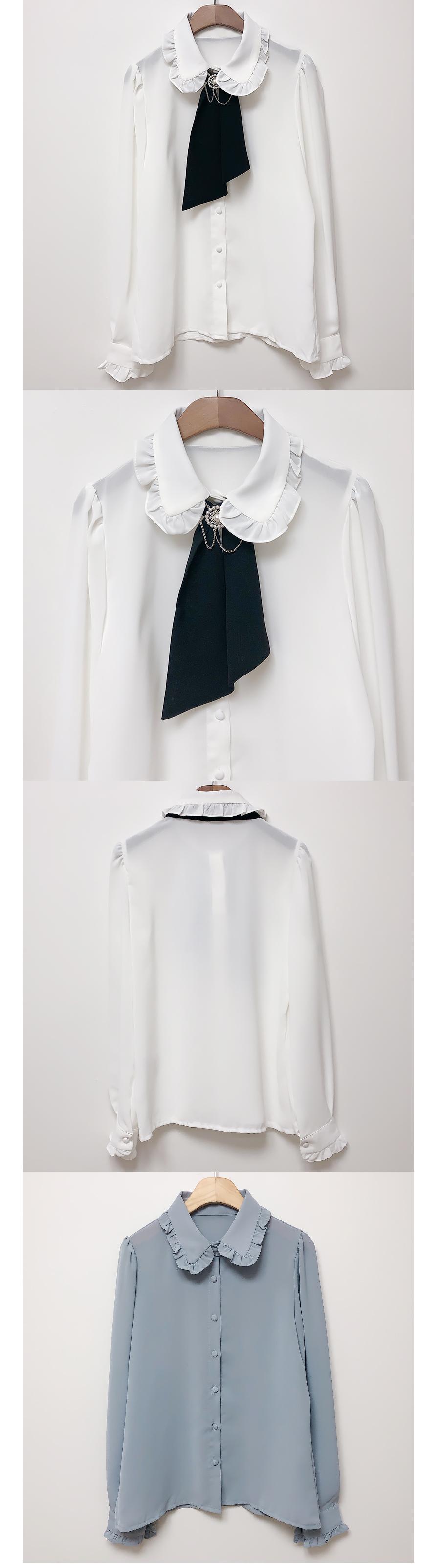 綁帶胸針 荷葉領邊公主袖襯衫