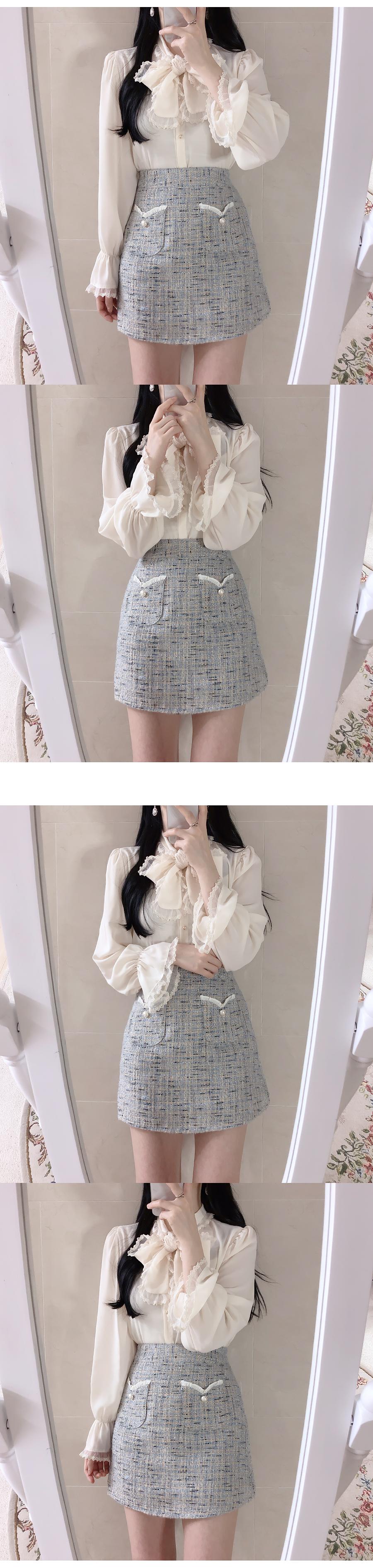 Heart tweed skirt pants