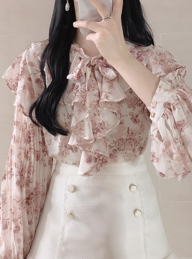 Lady floral frill blouse