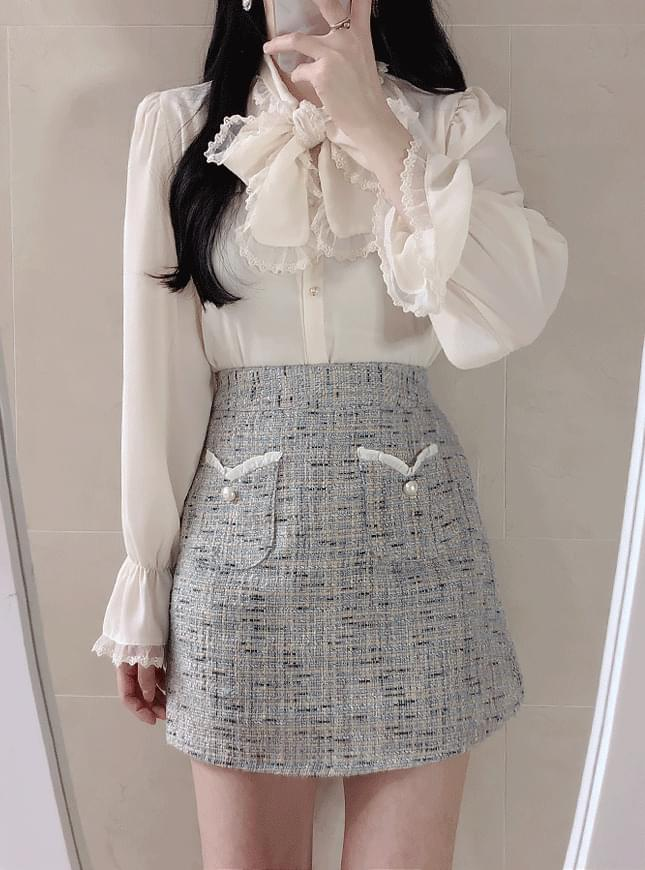 Heart tweed skirt pants skirt
