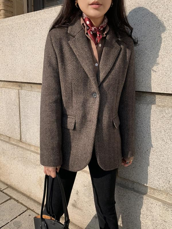 Hairy Herringbone Half Wool Jacket