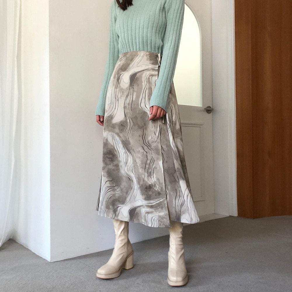Marbling Pattern Wrap Skirt