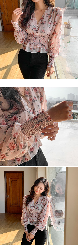 V领打揽裙式摆花朵女衫