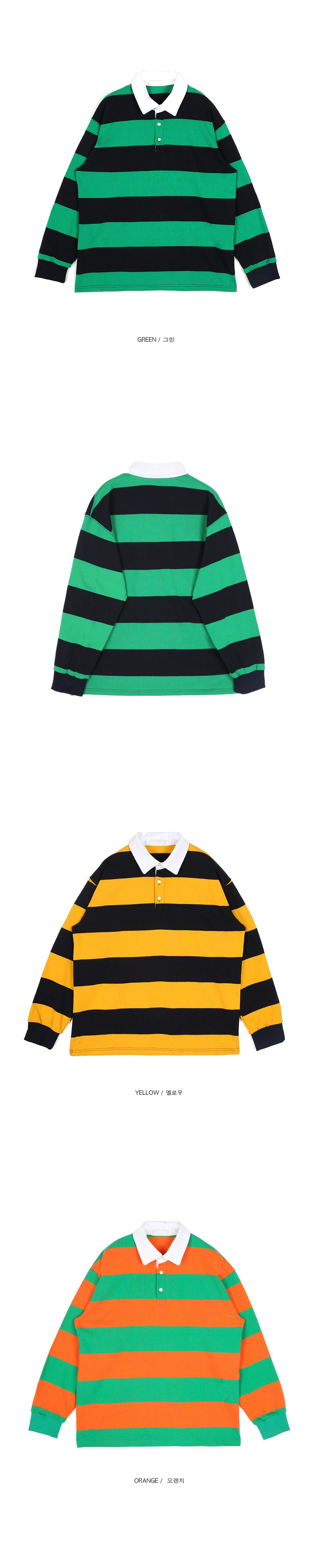 SALE stripe rugby collar T - UNISEX