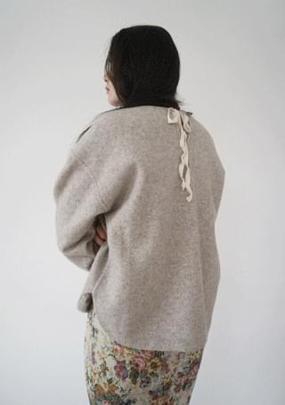 back string wool texture blouse