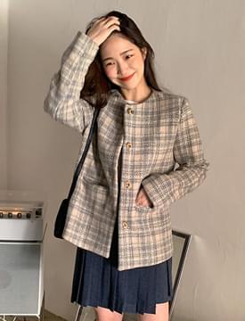 Chloe check wool jacket_Y (size : free)