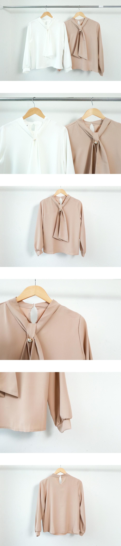 氣質系 珍珠釦綁帶微蓬袖襯衫