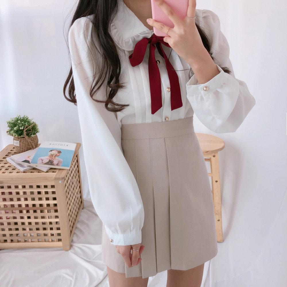 356 ribbon tucking blouse