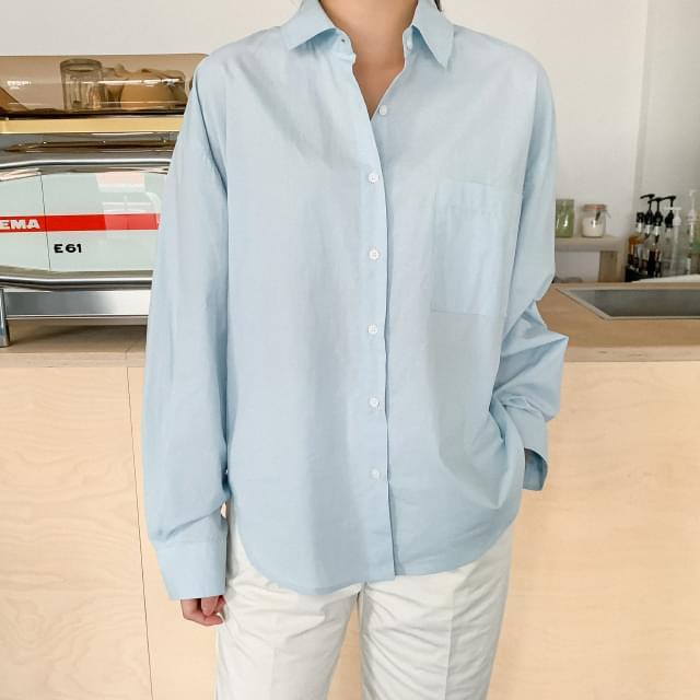 Pastel colored loose-fit cotton shirt