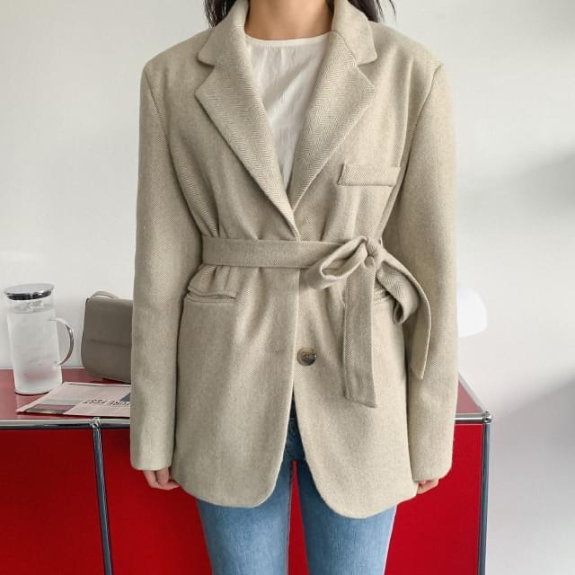 Herringbone strap overfit wool jacket-jk