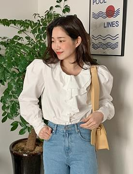 Frill puff cotton blouse_H