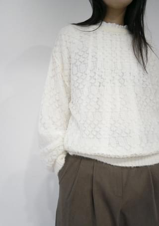 mohair square pattern knit (3colors)