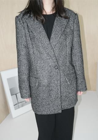 herringbone one button jacket