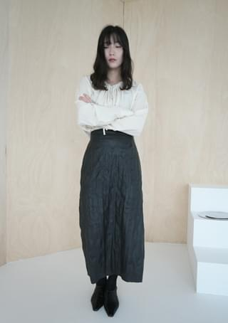 fake leather crease skirt (2colors)