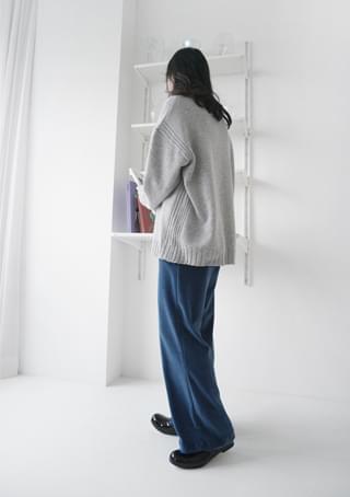 straight velvet banding pants (2colors)