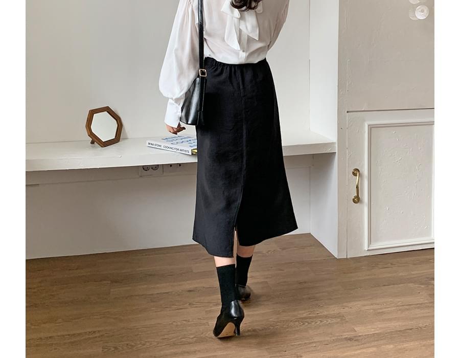 Gloss slit long skirt_U