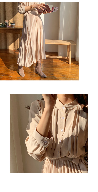 Feminine Pleats Long Dress