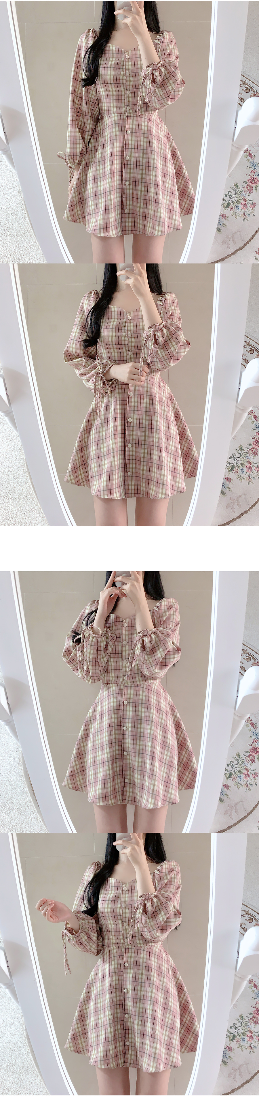 Macaron Check Shoulder Dress
