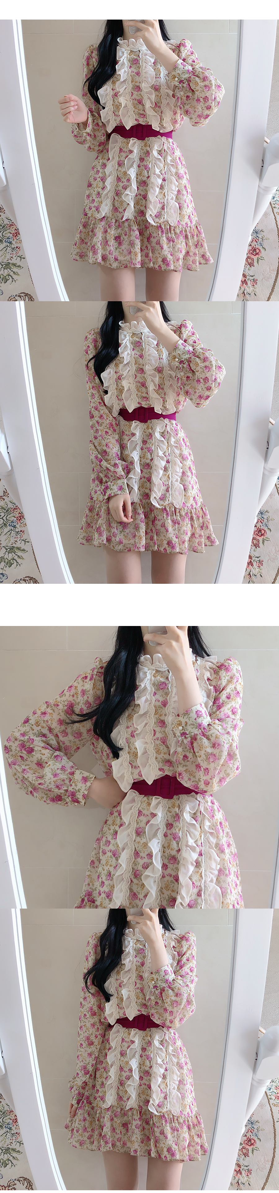Unibell floral ruffle dress