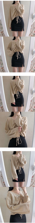 String Twist V Neck Knit