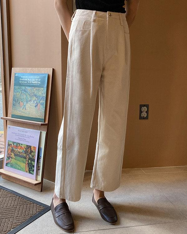 Cream Out Pintuck Cotton Pants
