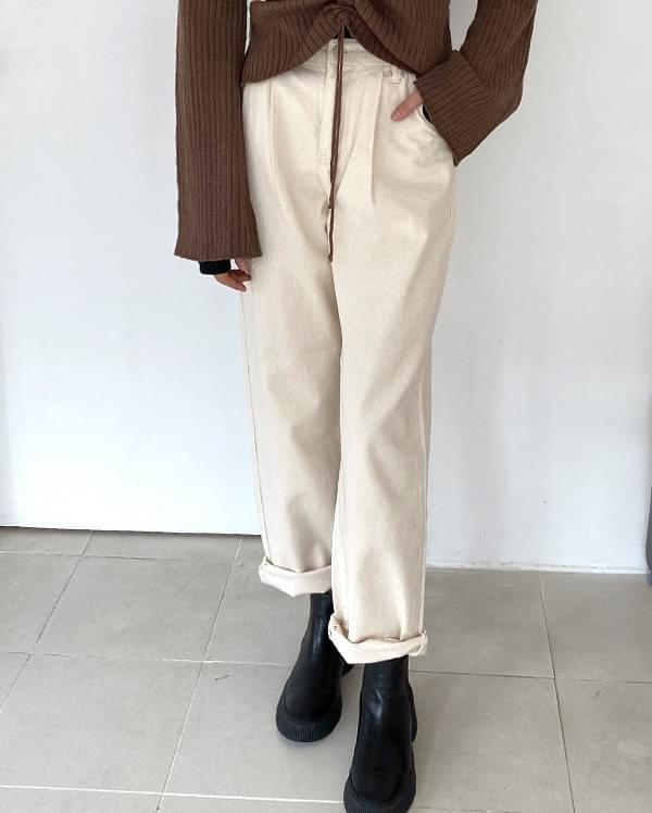 Natural out chin cotton pants