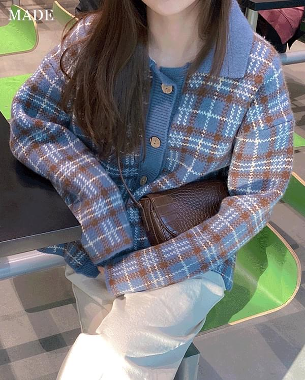 Two-tone check collar knit cardigan