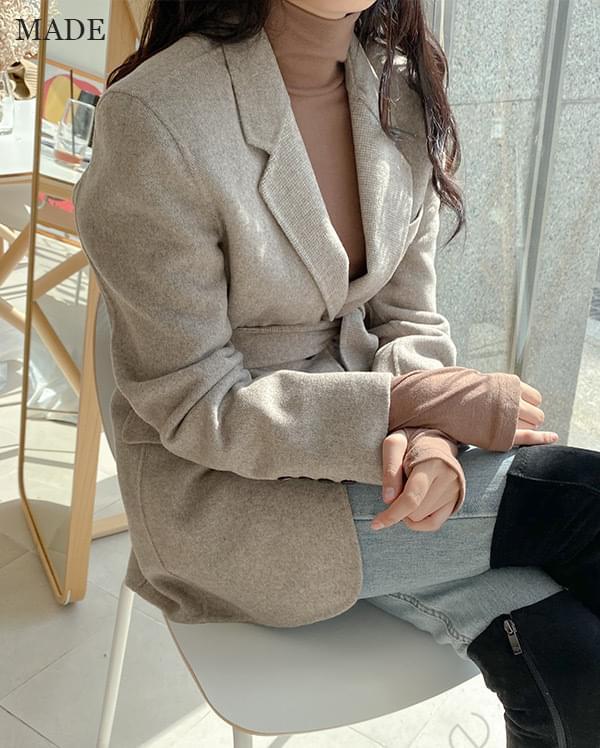 Wool check handmade half coat