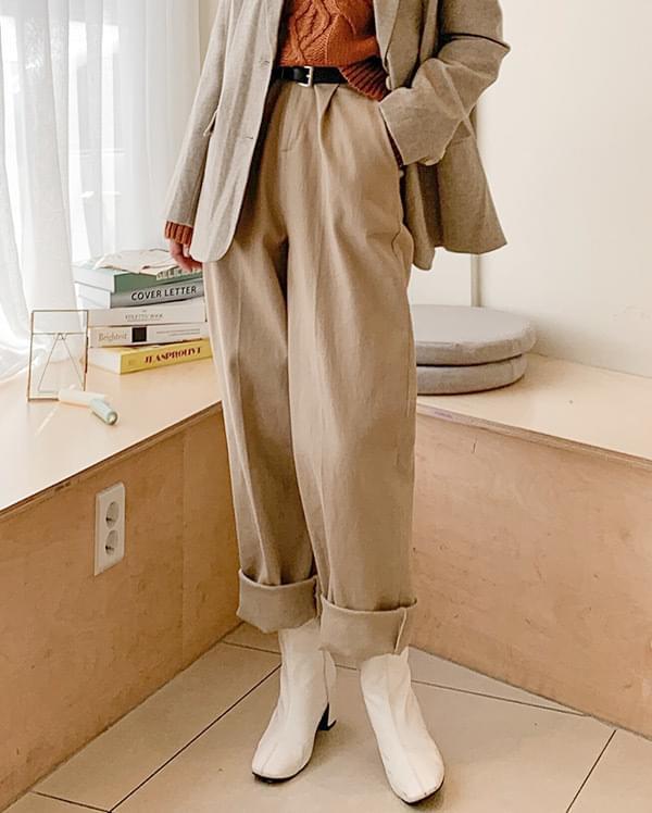 Formal Pintuck Cotton Wide Pants