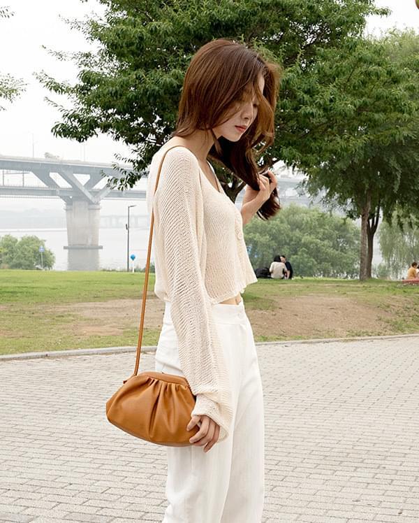 Clam Leather Mini Crossbody Bag