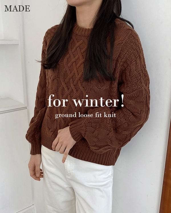 Ground loose fit round knit