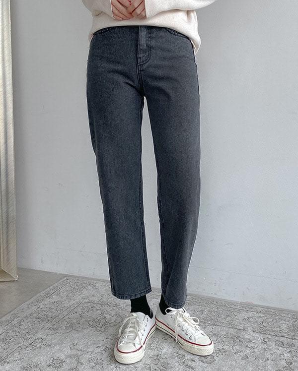 Chic date gray denim pants