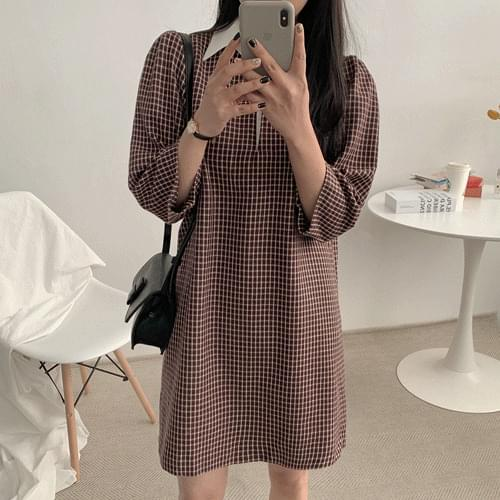 Remy check wool collar dress