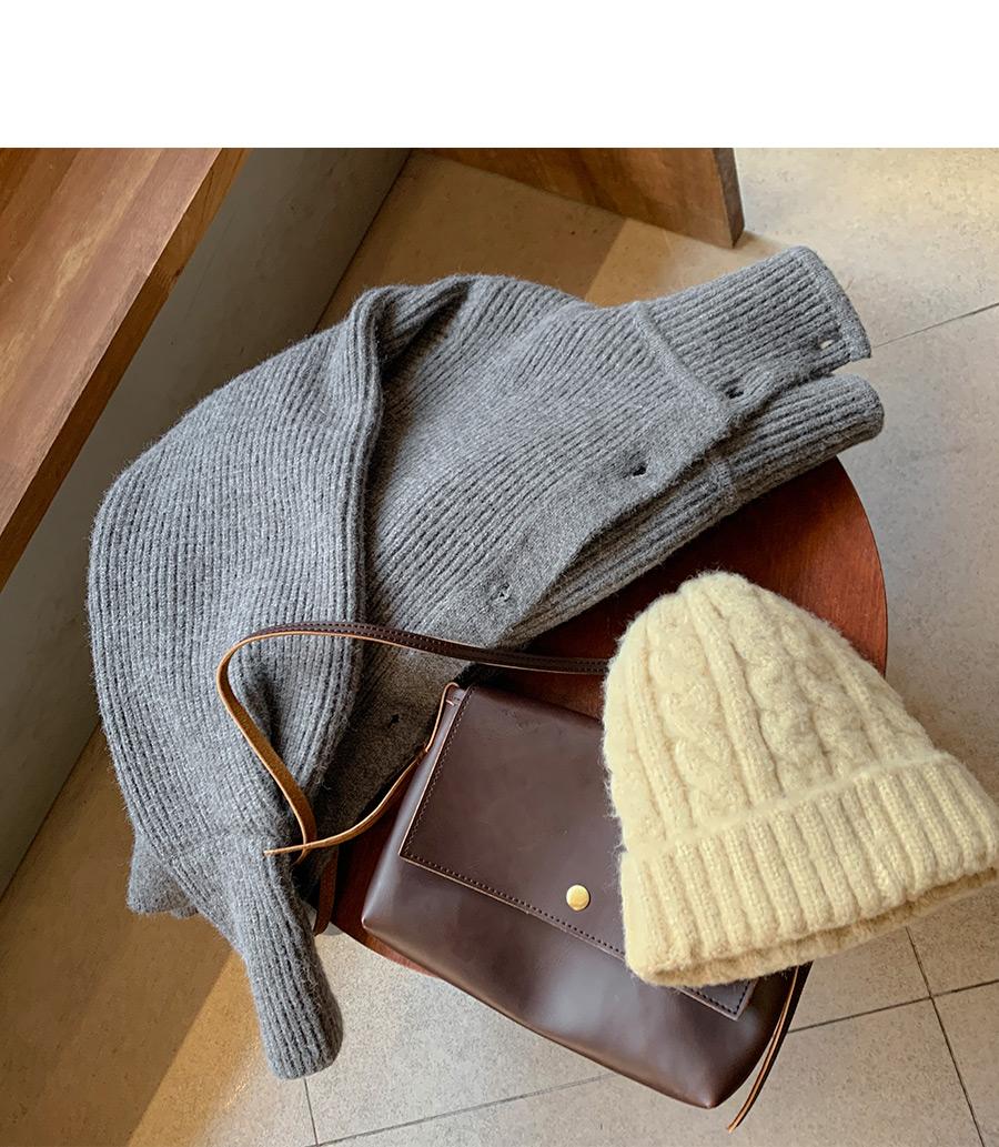High neck collar knit cardigan