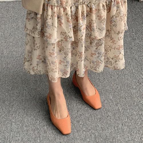 優雅方頭純色仿皮革粗跟鞋