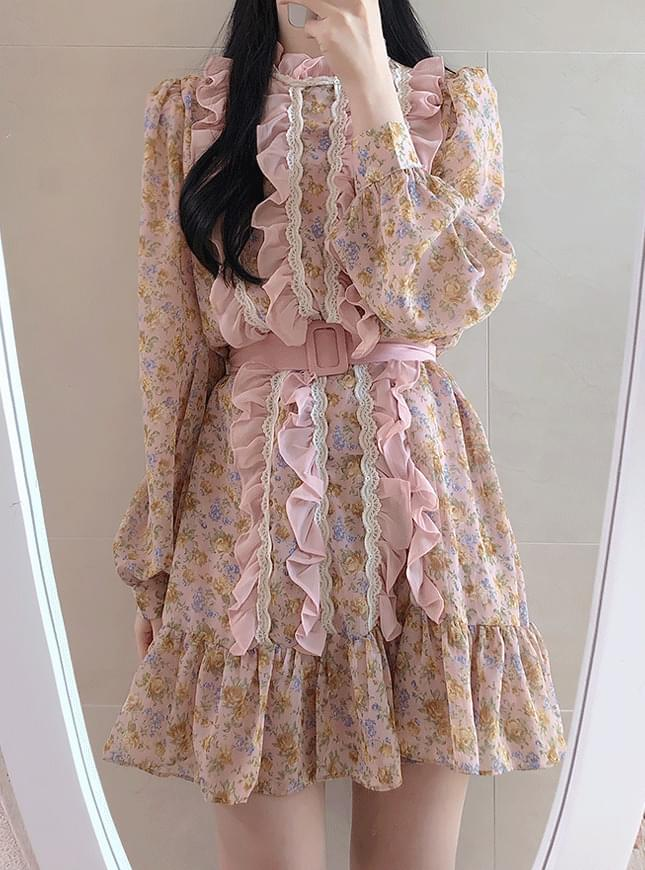 Unibell floral ruffle dress 洋裝