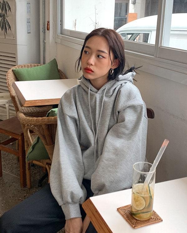 Overfit Puff Brushed Hooded Sweatshirt