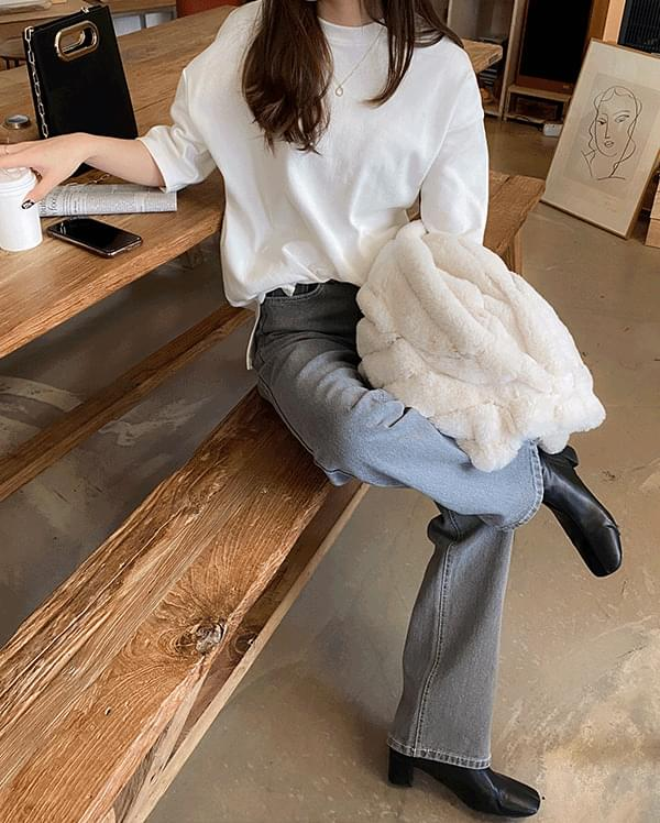 Layered Fleece Half T-Shirt