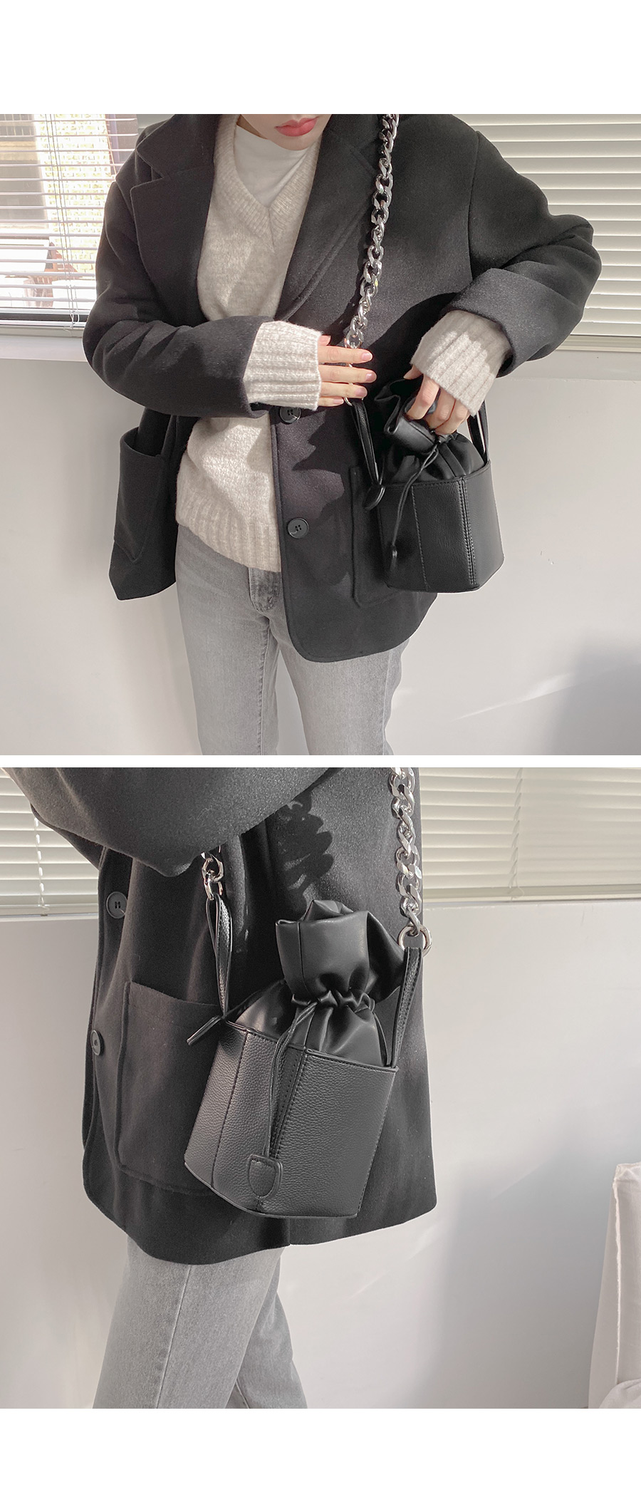Two line mini bucket bag