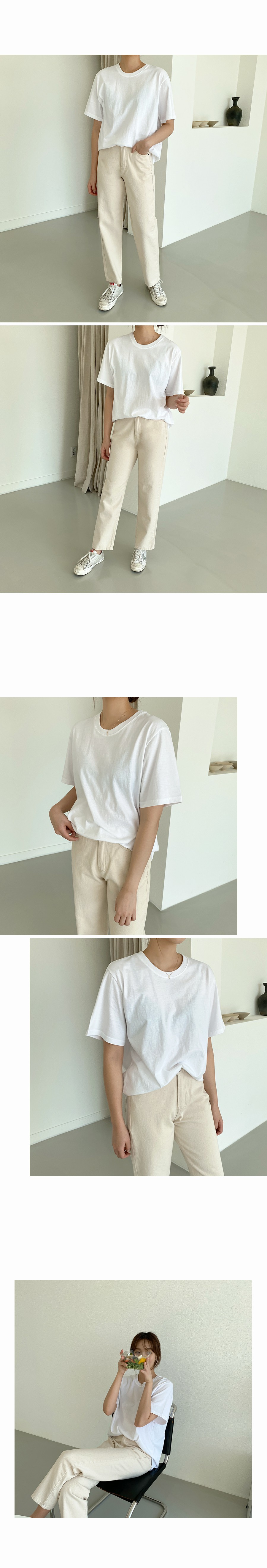 Plain low-fat short-sleeved tee