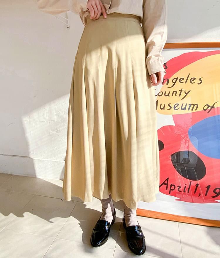 Salang pleated long skirt