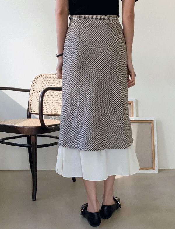 Feminine Checklayered Skirt-sk